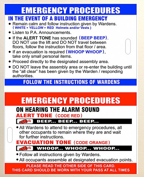 FireDirect product - Emergency procedures posters